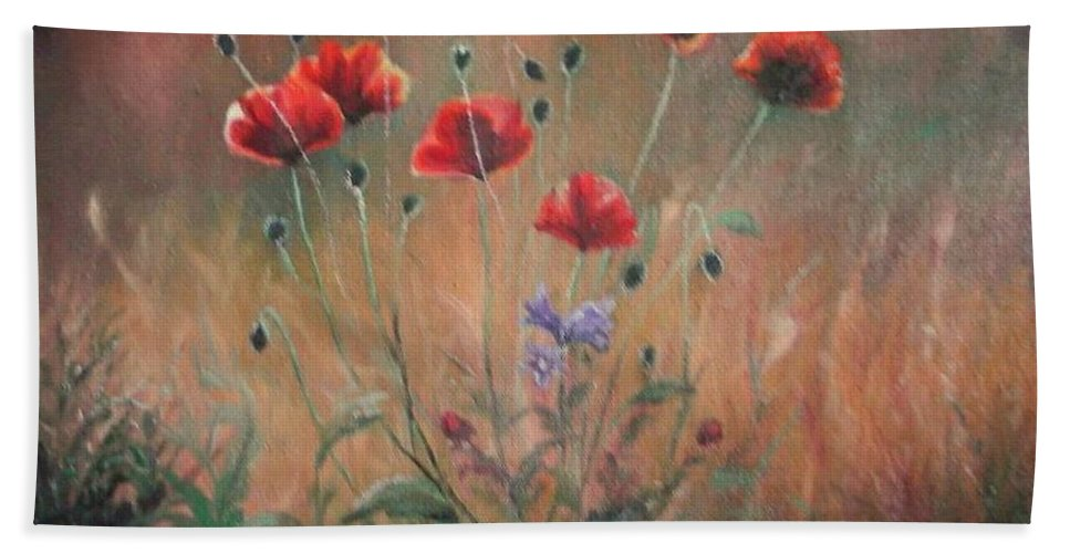 Flower Bath Sheet featuring the painting Poppies by Sorin Apostolescu