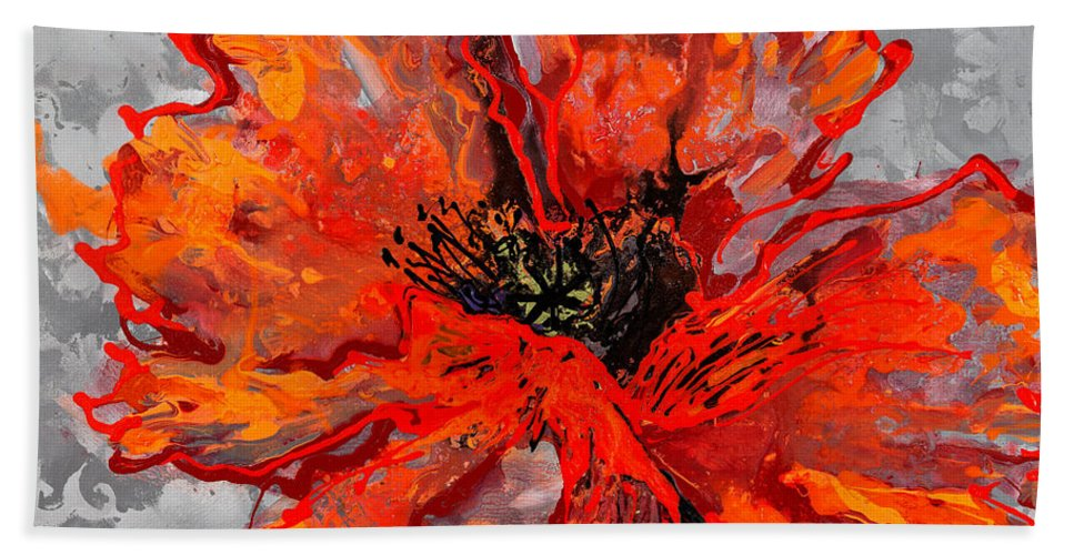 Poppy Bath Sheet featuring the painting Poppy 41 by Sheila McPhee