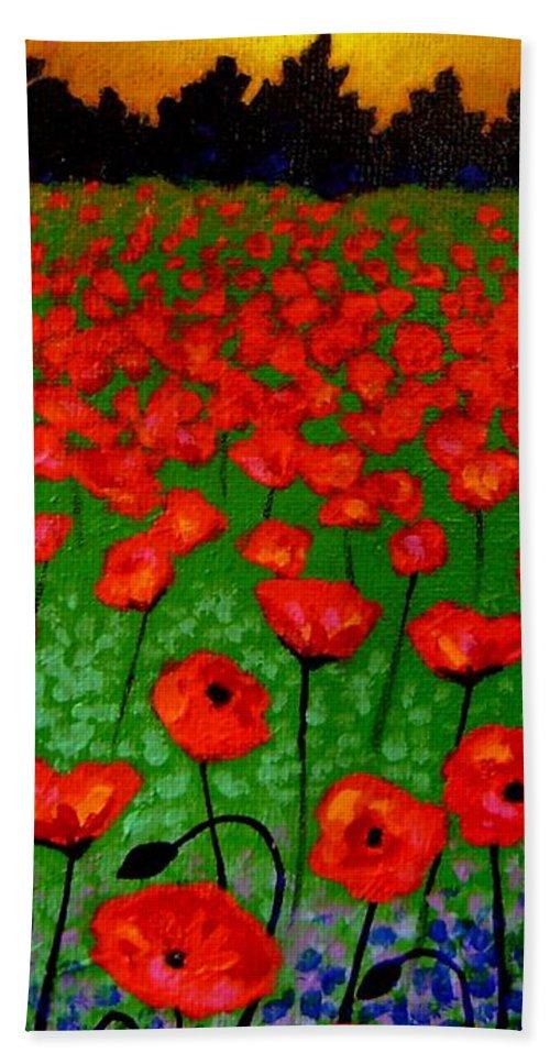 Poppy Hand Towel featuring the painting Poppy Carpet by John Nolan