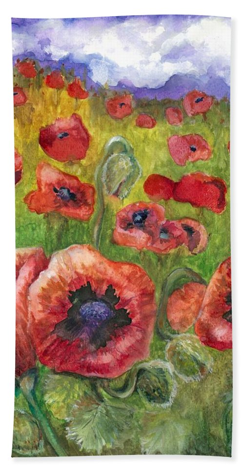 Watercolor Hand Towel featuring the painting Poppy Dream by Lis Zadravec