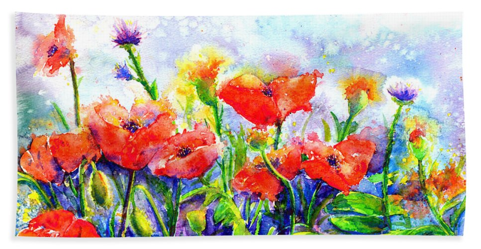 Red Poppy Bath Sheet featuring the painting Poppy Fields by H Cooper