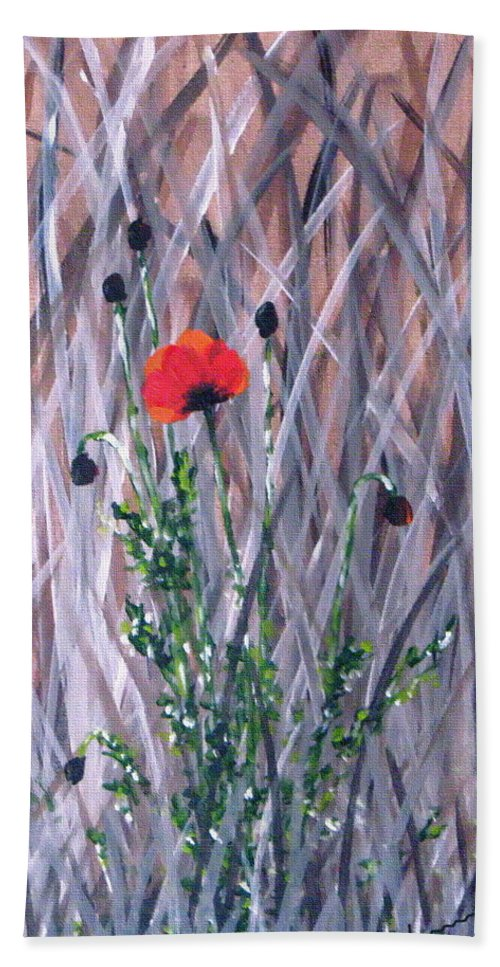 Poppy Hand Towel featuring the Poppy In The Wild by Kume Bryant