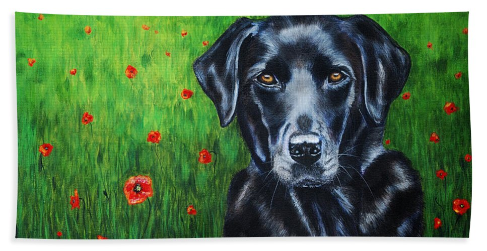 Black Hand Towel featuring the painting Poppy - Labrador Dog In Poppy Flower Field by Michelle Wrighton