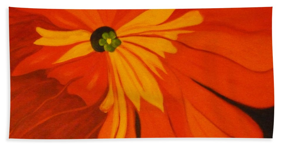 Flower Hand Towel featuring the painting Poppy by Nancy Merkle