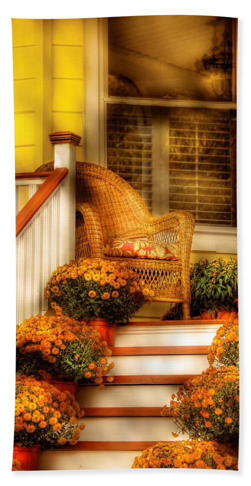 Porch Bath Sheet featuring the photograph Porch - In The Light Of Autumn by Mike Savad