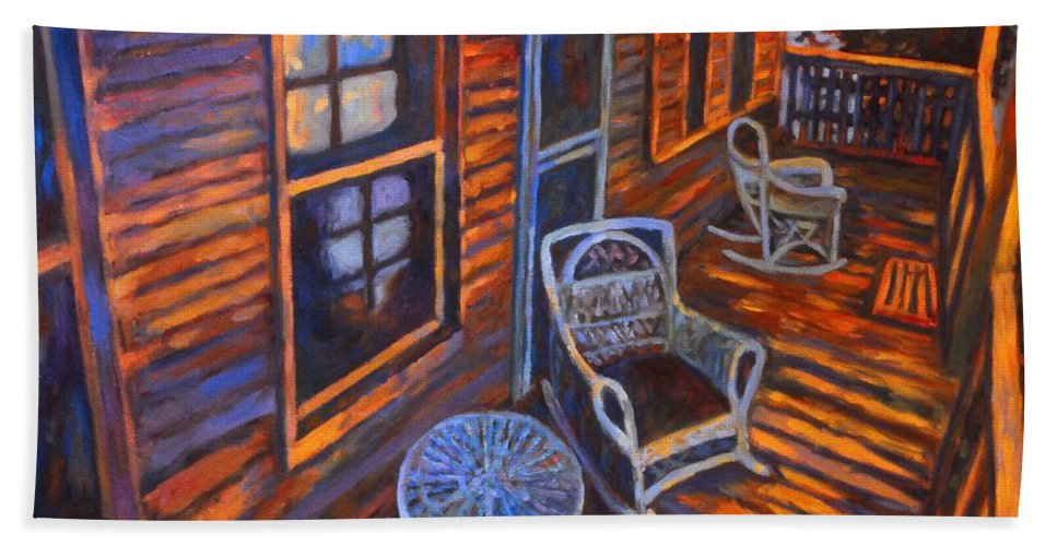 Kendall Kessler Hand Towel featuring the painting Porch by Kendall Kessler