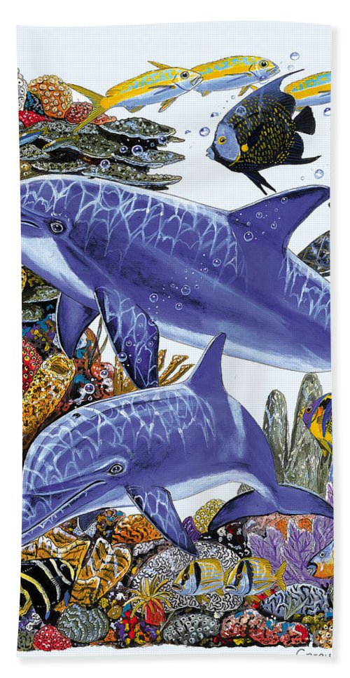 Porpoise Hand Towel featuring the painting Porpoise Reef by Carey Chen