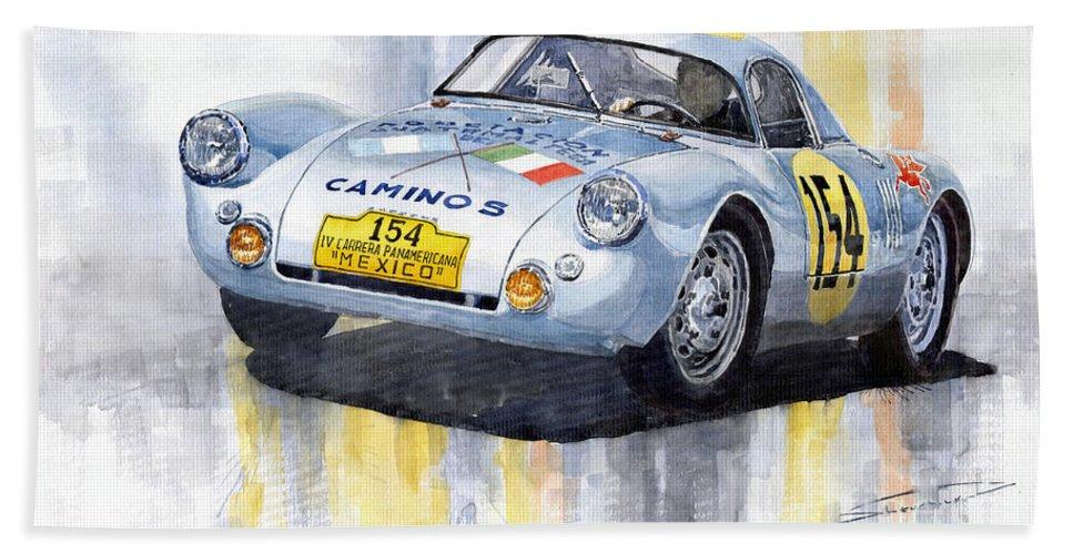 Watercolor Bath Towel featuring the painting Porsche 550 Coupe 154 Carrera Panamericana 1953 by Yuriy Shevchuk