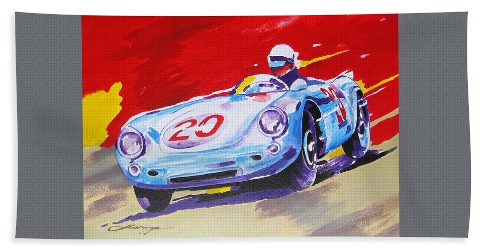 Car Bath Towel featuring the painting Porsche 550 Rs - 1956 by Dan Haraga