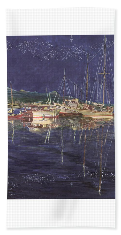 I Just Ordered A Shower Curtain For Myself With This Image On It Bath Sheet featuring the painting Stary Port Orchard Night by Jack Pumphrey