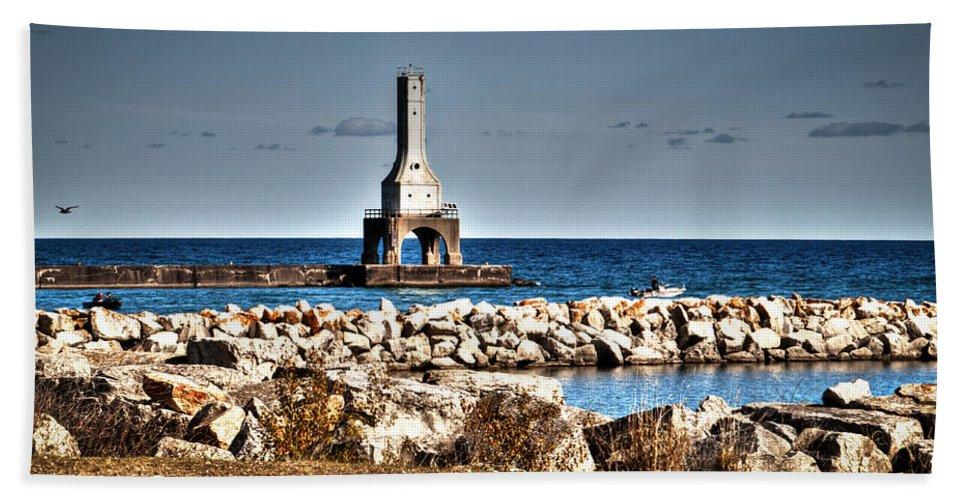 Outdoors Hand Towel featuring the photograph Port Washington Breakwater Light by Deborah Klubertanz