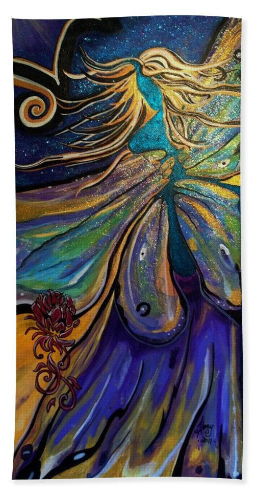 Divinity Hand Towel featuring the painting Portal Of The Divine by Tracy Mcdurmon