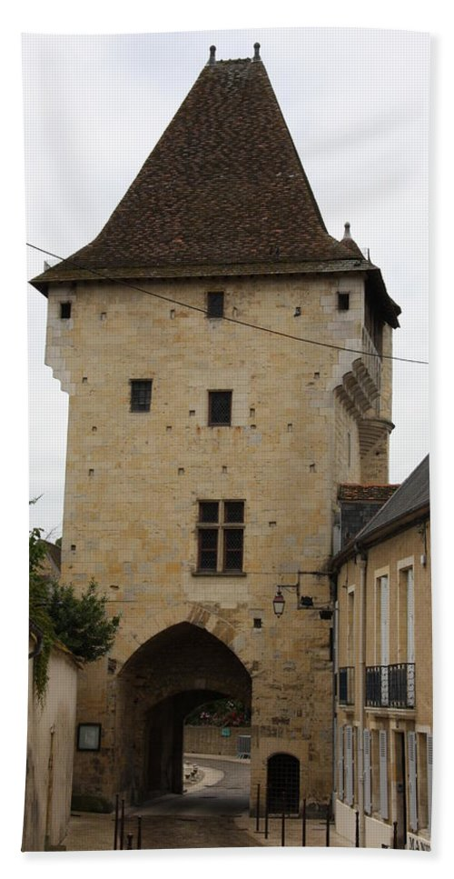 Town Gate Hand Towel featuring the photograph Porte Du Croux - Nevers by Christiane Schulze Art And Photography