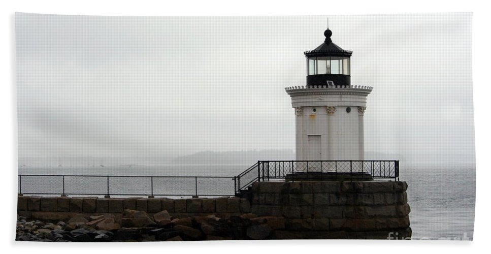 Lighthouse Hand Towel featuring the photograph Portland Breakwater Light On A Hazy Day - Maine by Christiane Schulze Art And Photography