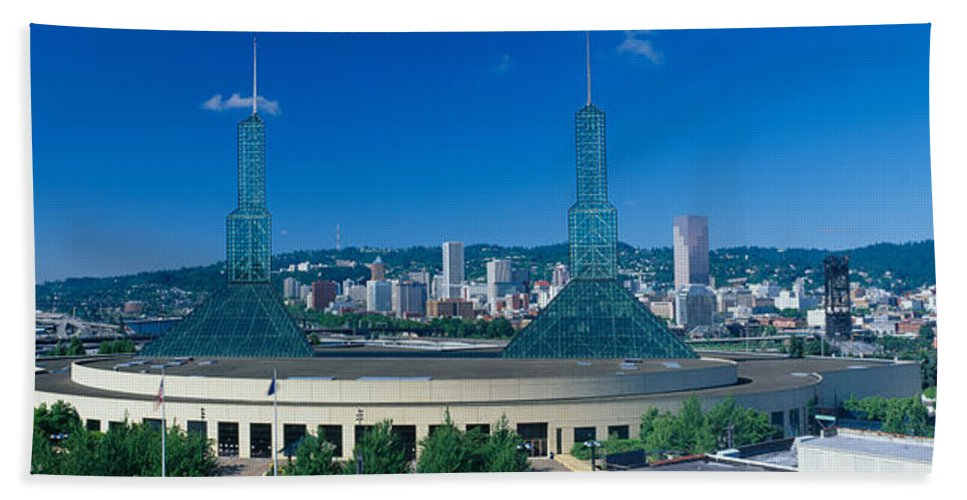 Photography Hand Towel featuring the photograph Portland Convention Center, Morning by Panoramic Images