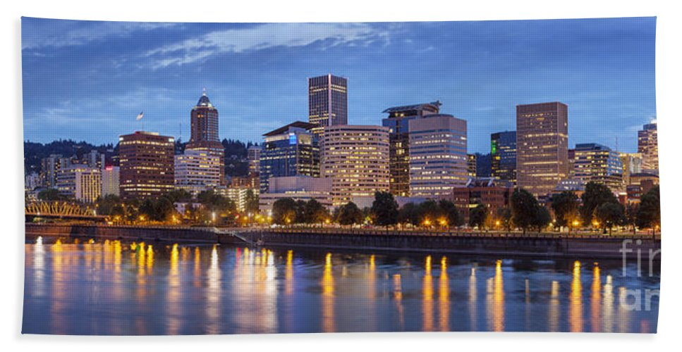Architecture Hand Towel featuring the photograph Portland Skyline Pm2 by Brian Jannsen
