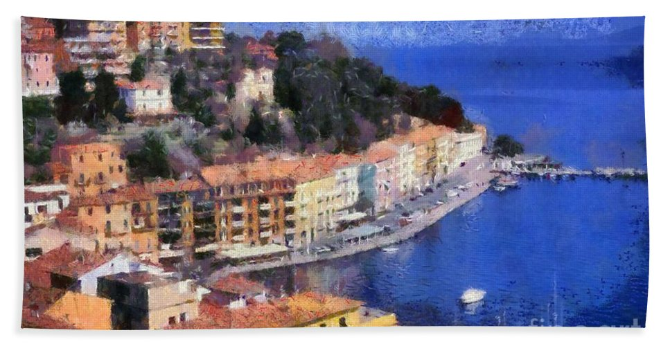 Porto Stefano Hand Towel featuring the painting Porto Stefano In Italy by George Atsametakis