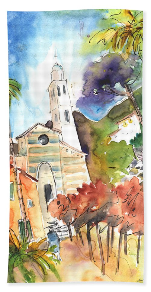 Italy Hand Towel featuring the painting Portofino In Italy 05 by Miki De Goodaboom