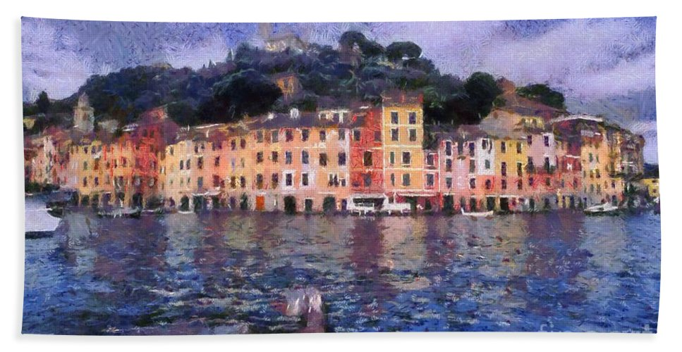 Portofino Bath Sheet featuring the painting Portofino In Italy by George Atsametakis