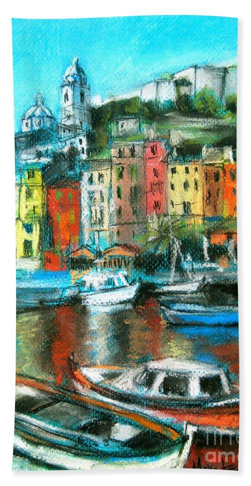 Portovenere Bath Sheet featuring the painting Portovenere by Mona Edulesco