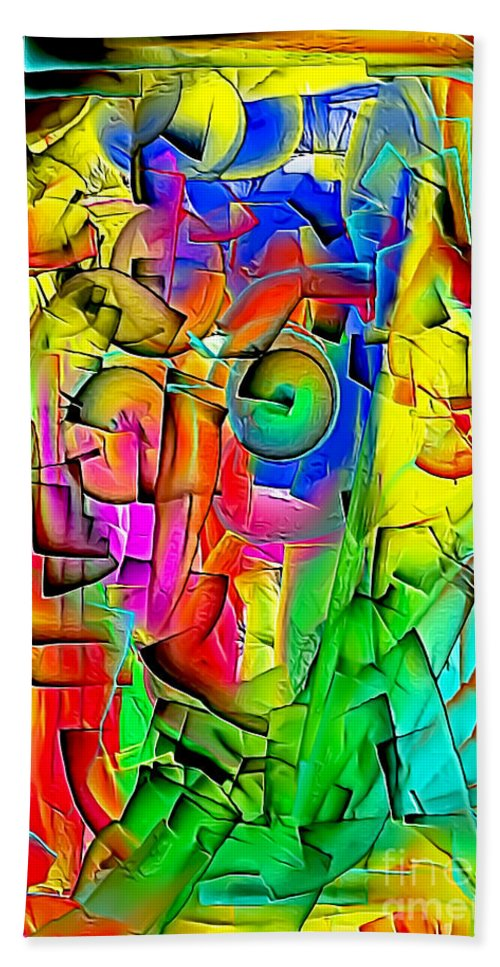 Graphic Hand Towel featuring the digital art Portrait 703 - Marucii by Marek Lutek