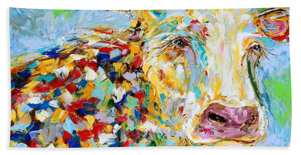 Cow Bath Sheet featuring the painting Portrait Of A Cow by Karen Tarlton