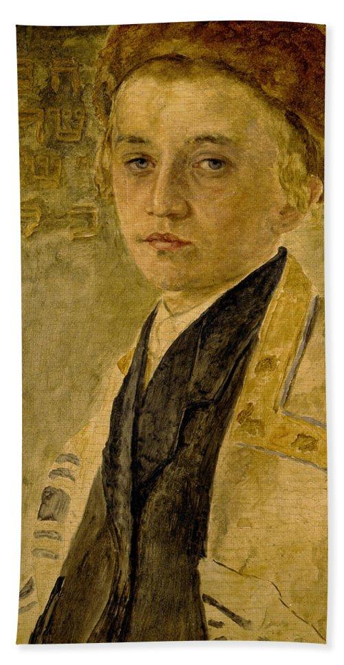 Portrait Of A Jewish Boy Bath Sheet featuring the painting Portrait Of A Jewish Boy by Isidor Kaufmann