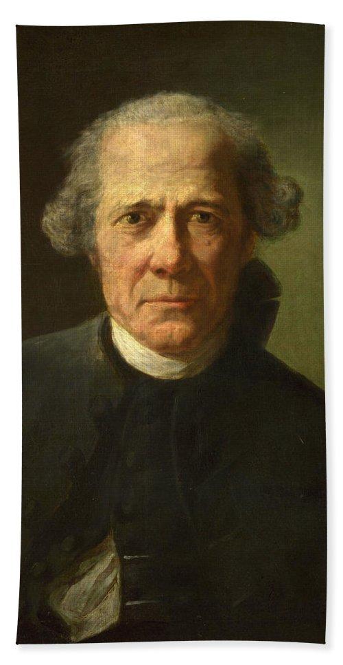 Joseph Ducreux Hand Towel featuring the painting Portrait Of A Man by Joseph Ducreux