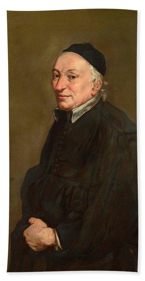 Giacomo Ceruti Bath Sheet featuring the painting Portrait Of A Priest by Giacomo Ceruti
