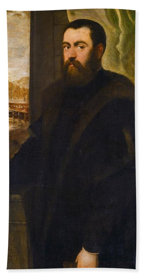 1570 Hand Towel featuring the painting Portrait Of A Venetian Senator by Tintoretto