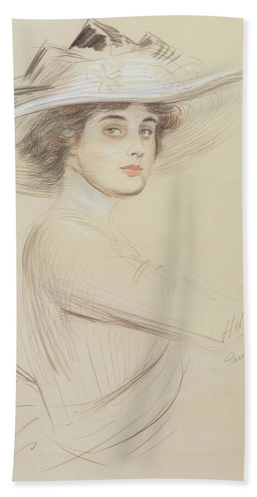 Drawing Hand Towel featuring the drawing Portrait Of A Woman by Paul Cesar Helleu