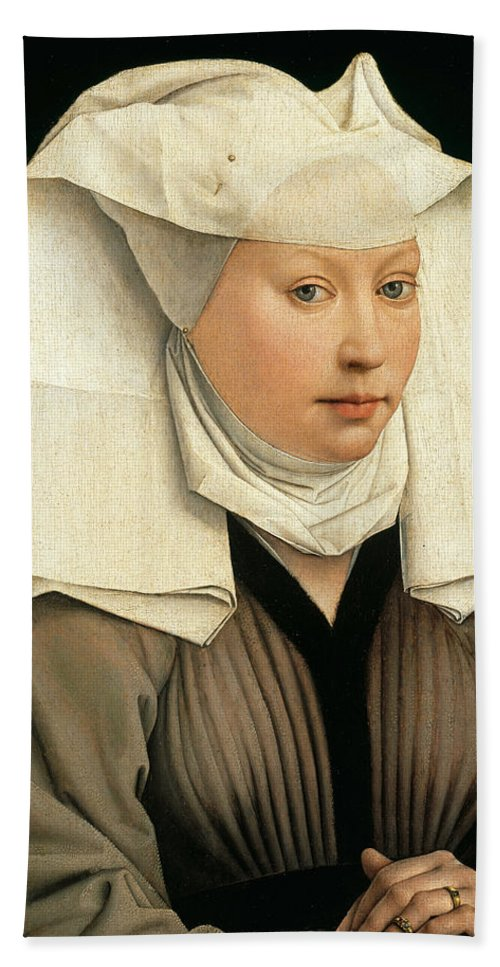 Rogier Van Der Weyden Hand Towel featuring the painting Portrait Of A Woman With A Winged Bonnet by Rogier van der Weyden
