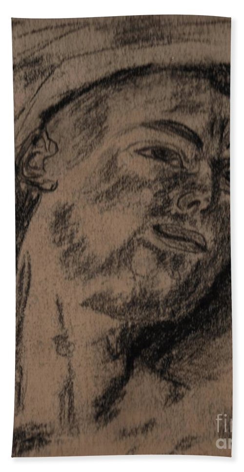 Portrait Of A Young Man Hand Towel featuring the painting Portrait Of A Young Man by Myrtle Joy