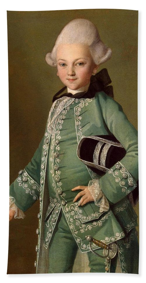 Carl-ludwig Christinek Hand Towel featuring the painting Portrait Of Aleksey Bobrinsky As A Child by Carl-Ludwig Christinek