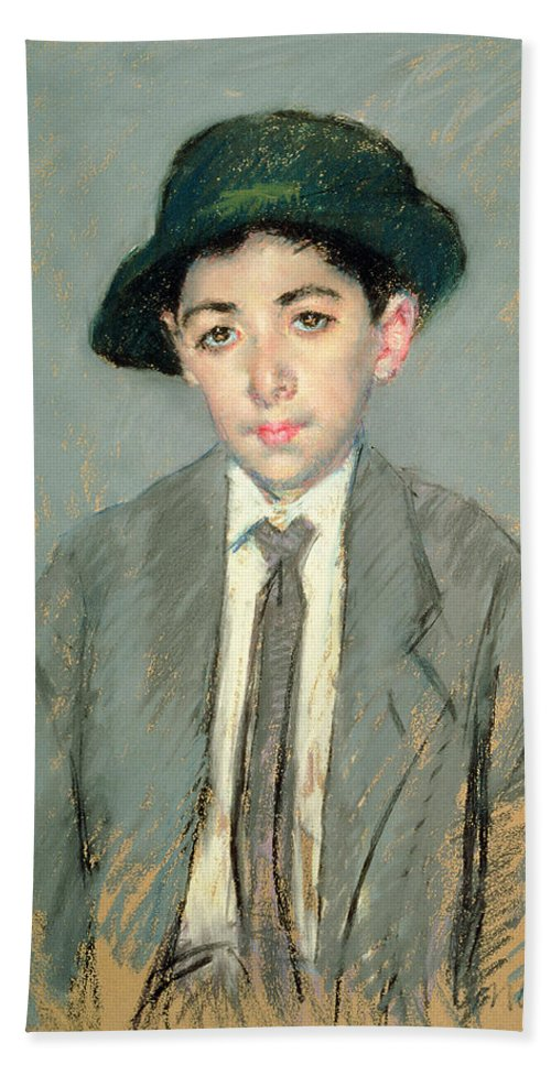 Boy; Child; Half Length; Hat; Tie Hand Towel featuring the painting Portrait Of Charles Dikran Kelekian by Mary Stevenson Cassatt