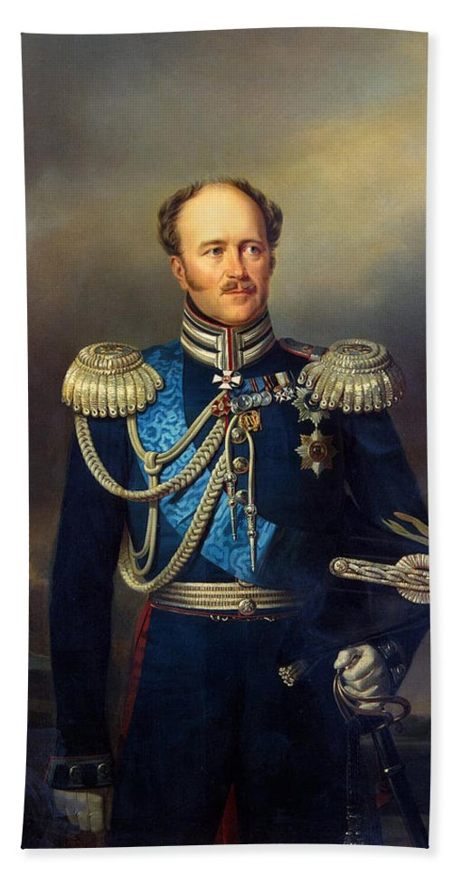 Georg Bottman Bath Sheet featuring the painting Portrait Of Count Alexander Benkendorff by Georg Bottman