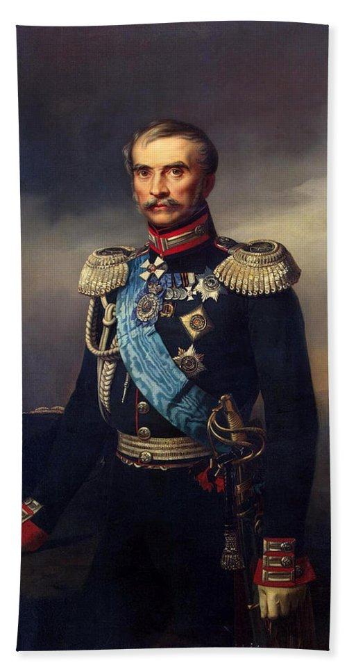 Georg Bottman Bath Sheet featuring the painting Portrait Of Illarion Vasilyevich Vasilchikov by Georg Bottman