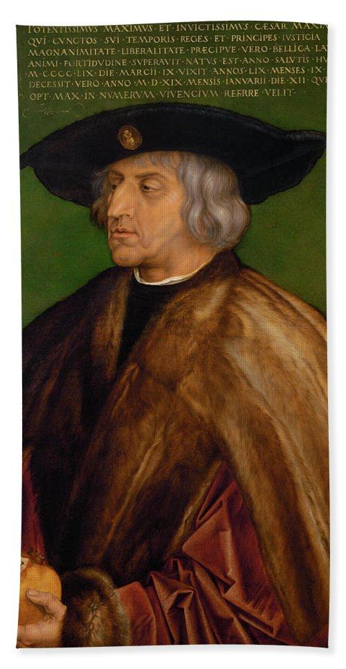 Albrecht Duerer Hand Towel featuring the painting Portrait Of Maximilian I by Albrecht duerer