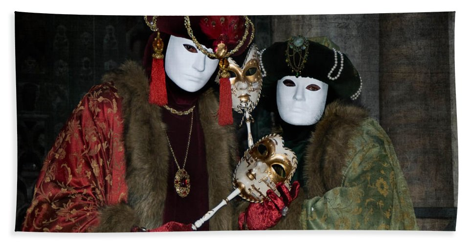 Aristocrat Hand Towel featuring the photograph Venetian Carnival - Portrait Of Nobles by Zina Zinchik