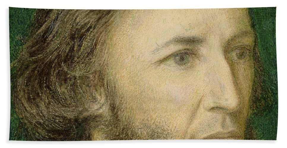 Robert Browning Bath Sheet featuring the painting Portrait Of Robert Browning by Dante Charles Gabriel Rossetti