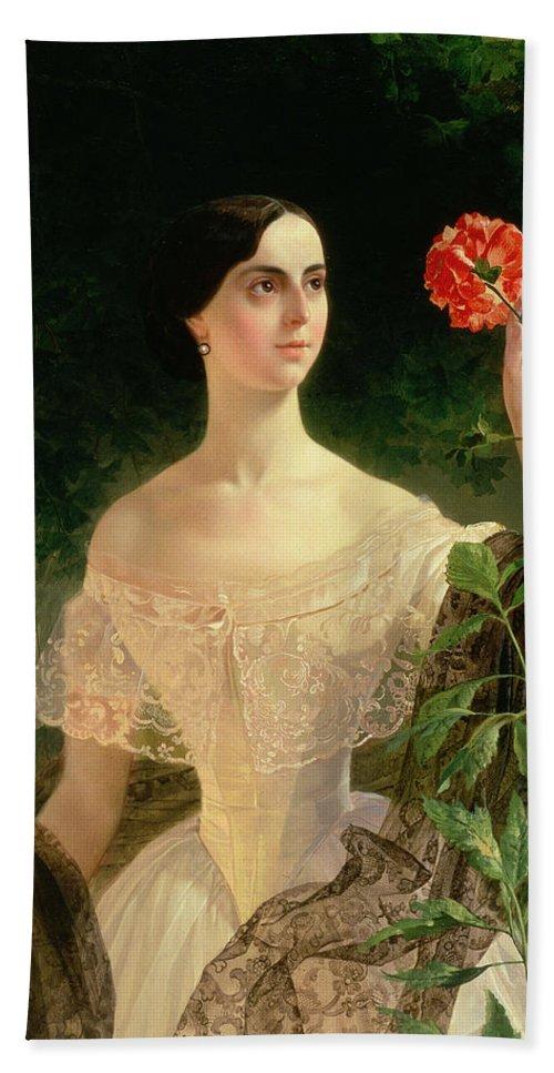 Female Hand Towel featuring the painting Portrait Of Sofia Andreyevna Shuvalova by Karl Pavlovich Bryullov