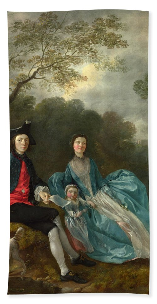 Thomas Gainsborough Hand Towel featuring the painting Portrait Of The Artist With His Wife And Daughter by Thomas Gainsborough