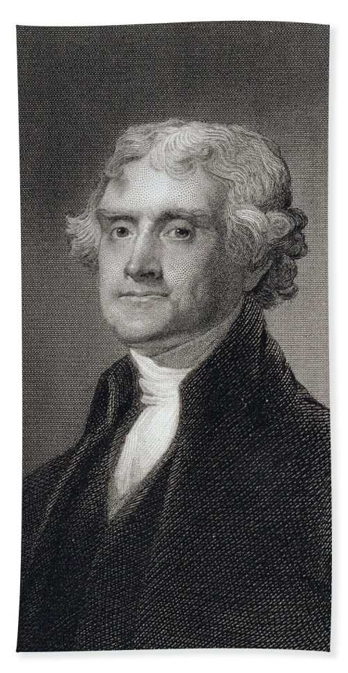 Thomas Jefferson Bath Sheet featuring the drawing Portrait Of Thomas Jefferson by Henry Bryan Hall