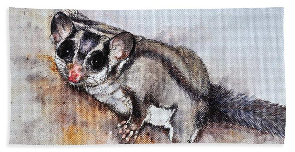 Possum Cute Sugar Glider............ Petaurus Breviceps Honey Possum Hand Towel featuring the painting Possum Cute Sugar Glider by Sandra Phryce-Jones