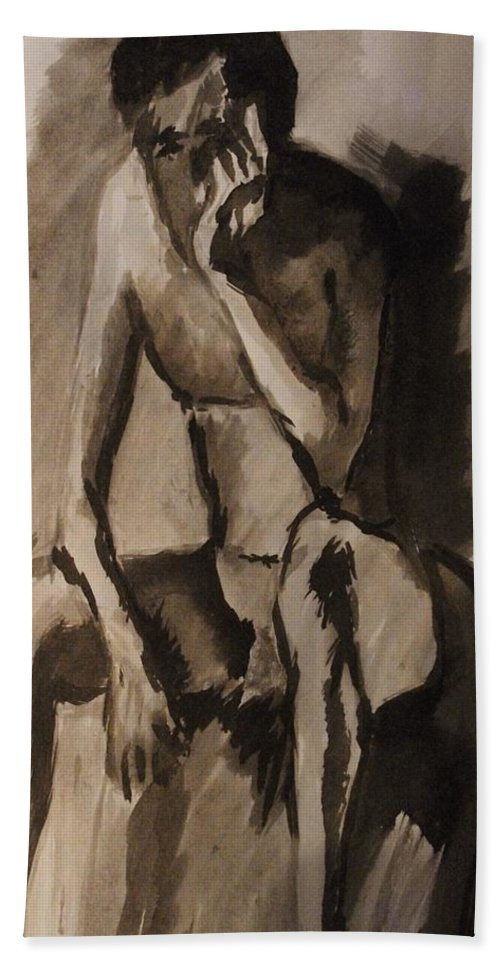 Nude Bath Sheet featuring the painting Post-coital Contemplation by Crystal Menicola