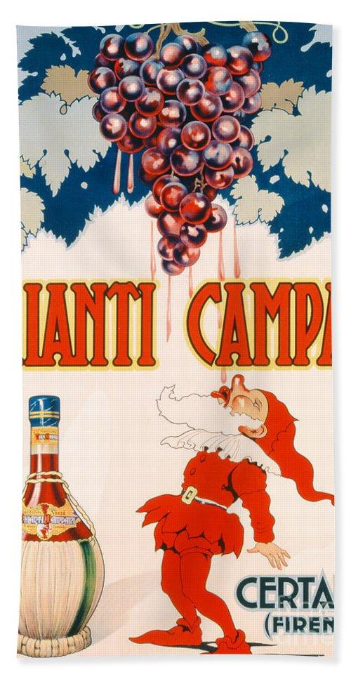 Poster Advertising Chianti Campani Bath Sheet featuring the drawing Poster Advertising Chianti Campani by Necchi