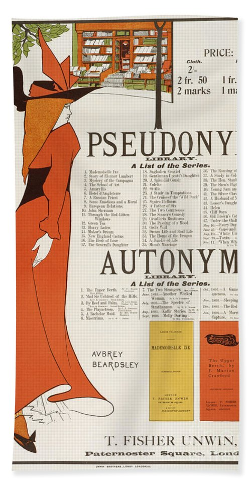 Fin-de-siecle Hand Towel featuring the painting Poster For 'the Pseudonym And Autonym Libraries' by Aubrey Beardsley