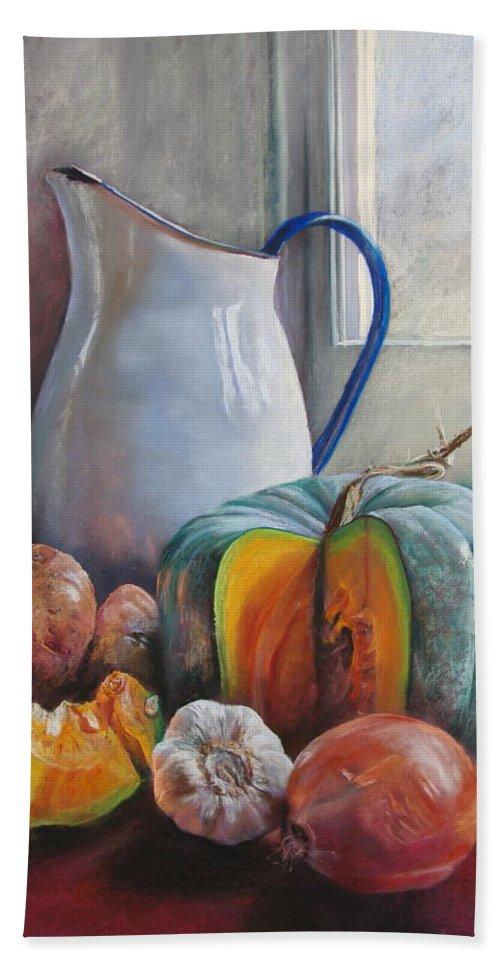 Lynda Robinson Bath Sheet featuring the painting Potential Pumpkin Soup by Lynda Robinson