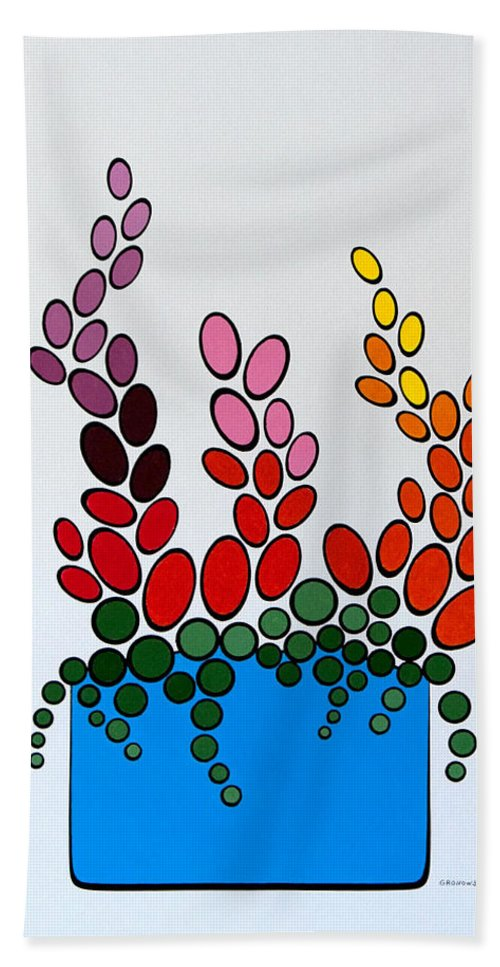Floral Hand Towel featuring the painting Potted Blooms - Blue by Thomas Gronowski