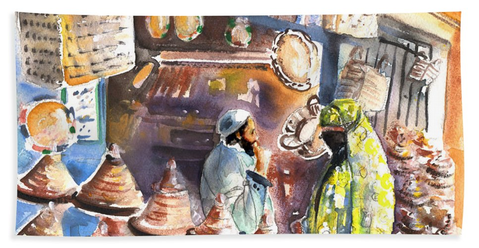 Travel Bath Sheet featuring the painting Pottery Seller In Essaouira by Miki De Goodaboom